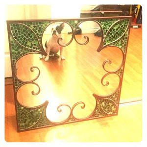 Other - Beautiful green stained glass, cast iron mirror